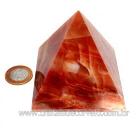 Pirâmide GRANDE Pedra Aragonita Vermelha Natural Queops 119030