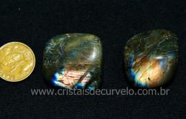 02 Labradorita ou Spectrolite Rolado Pedra Natural De Garimpo Esoterismo Colecionador Ref 47.4