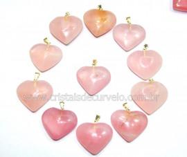 50 Coração ROSA Pedra Quartzo Pingente Banhado Prata
