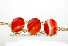 Bracelete 03 Pedras Ágata Cornalina Cabochão Dourado Reff 101239