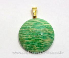 Pingente Disco Liso Pedra Amazonita Verde Natural Pino Dourado