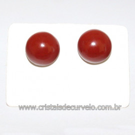 Brinco Topinho Pedra Jaspe Vermelho Prata 950 Reff 109902