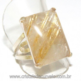 Anel Prata 950 Cristal Rutilo Natural Aro Ajustavel 109911
