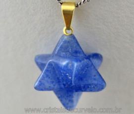 Merkaba Pingente Pedra Quartzo Azul Presilha Dourada
