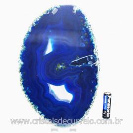 Chapa de Agata Azul Porta Frios Bandeja Pedra Natural 123495