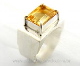 Anel Masculino Pedra Citrino Prata 950 Ajustavel Reff AM7274