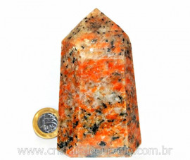 Ponta Calcita Laranja Extra Pedra Natural Lapidado em Gerador Sextavado Cod 450.5