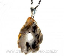 Pingente Especial Chapa Geodo Pedra Natural com Montagem Pino e Presilha Prateado