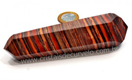 Bi Terminado Jaspe Rajado Natural Pedra Extra Lapidado Double Point Cod 155.2