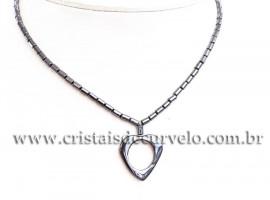 Colar Coração Pedra Hematita Natural Rolada 40cm REFF 112405