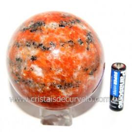 Esfera Calcita Laranja Bola Pedra Natural Boa Cor Cod 119563