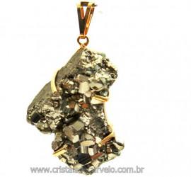 Pingente Drusa Pirita Extra Pedra Natural Montagem Envolto Dourado cod PP6877