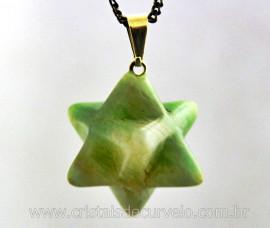 Merkaba Pingente Pedra Amazonita Verde Presilha e Presilha Prateado
