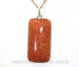 Pingente Retangulo Pedra do Sol Pino Prata 950 Reff PR5833