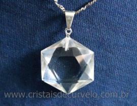 Estrela de Davi Pingente Pedra Cristal Extra Montagem Banho Prateado