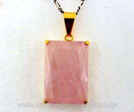 Pingente Quartzo Rosa Facetado Manual Montagem Garra Dourado REF 14.3