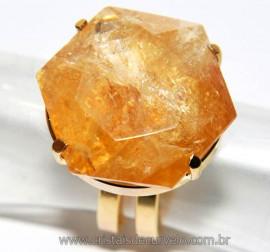 Anel Estrela de Davi ou Selo de Salomão Citrino Bombardeado Montado na Garra Dourado Reff AS9123