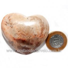 Coração Turmalina Preta Incrustada Amazonita Pêssego Cod 118996
