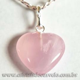 Pingente Mini Coração Quartzo Rosa 15mm Natural Pino Prata 950