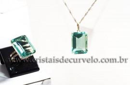 Conjunto colar Gema Obsidiana Verde Facetado Prata 950 111586
