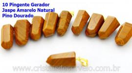 10 Pingente Pontinha Atacado Pedra Jaspe Amarelo Presilha e Pino Dourado