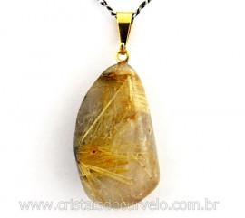 Pingente Pedrinha Cristal com Rutilo Natural de Garimpo Montagem Pino Dourado