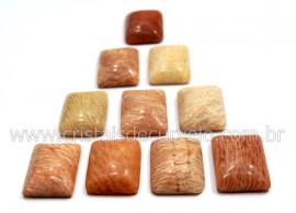 10 Retangulo Cabochao pra Pingente Pedra Feldspato Rosa Calibrado 15 x 20 MM