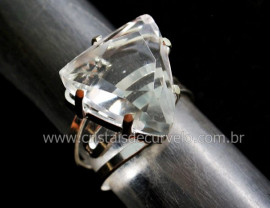 Anel Cristal Trillion Montado Prata 950 Ajustavel REFF 41.7
