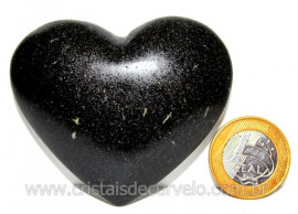 Coração Quartzo Preto Quartzito Negro Pedra Natural Cod CP2068