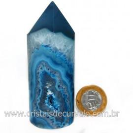 Ponta Ágata Azul Gerador Roliço Pedra Natural Cod 128509