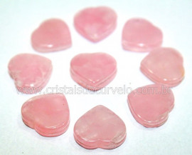 5 Coração Pedra Quartzo Rosa Ranhurado Montagem REFF CR2498