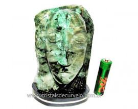 Busto de Artesanato Rosto Esculpido Pedra Esmeralda Cod RE9614