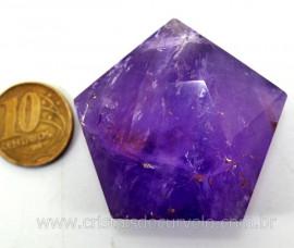 Pentagrama Simbolo Wicca Pedra AMETISTA Estrela 5 pontas Tamanho Grande 50 a 100 G