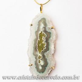 Pingente Flor de Ametista Pedra Natural Garra Dourado 112636
