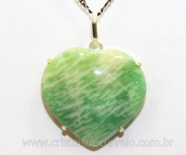 Pingente Coração Amazonita Verde Prata 950 Garra REFF CP1594