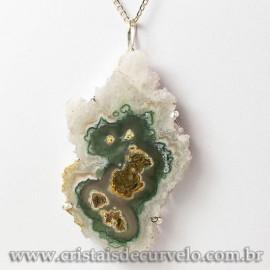 Pingente Flor de Ametista Pedra Natural Garra Prateado 112923