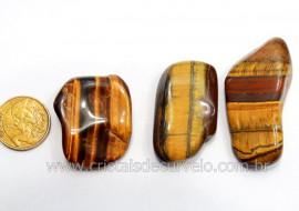 03 Olho de Tigre Rolado Pedra Natural Origem Africa Esoterismo Colecionador Ref 39.5
