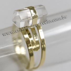 Anel Micro Pontinha Cristal Quartzo Bi Ponta Ajustavel Dourado