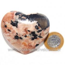 Coração Turmalina Preta Incrustada Amazonita Pêssego Cod 119035