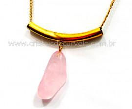 Max Colar com Pedra Quartzo Rosa Grande Dourado Reff CM4664