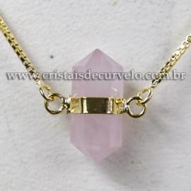 Colar Pedra Quartzo Rosa Micro Bi Ponta Natural Envolto Dourado