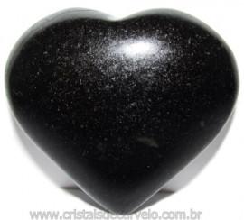 Coraçao Quartzo Preto Quartzito Negro Natural Cod 115333
