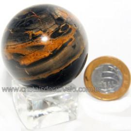 Bola Onix Preto Pedra Natural Lapidado Artesanal Cod 118751