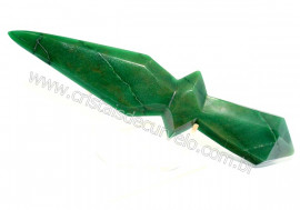 Adaga ou Athame Faca Pedra Natural Quartzo Verde Cod AF5599