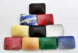 10 Retangulo Cabochao pra Pingente Pedras Mistas Lapidado Calibrado 15 x 20 MM