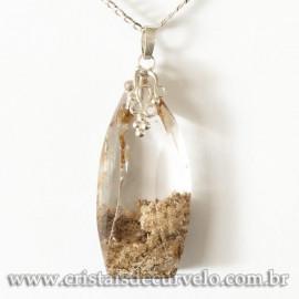 Pingente Cristal com Lodolita Montagem Pino Prata 950 cod 120904