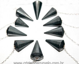 10 Pêndulos Hematita Pedra Facetado ATACADO REFF 101288
