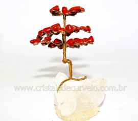 Árvore Felicidade Pedra Jaspe Vermelho na Drusa REFF AD3237