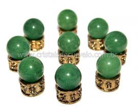 03 Bolinha Pedra Quartzo Verde 14mm Sem Furo REFF BS9890