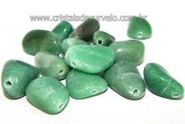 Pedra Rolada Quartzo Verde Furo Vazado Horizontal Artesanato REFF 108458